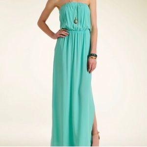 Splendid aqua strapless dress with cami bra
